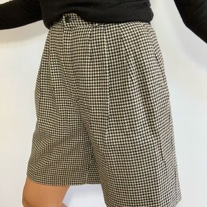 Vintage Wool Shorts Houndstooth High Waist Pleated